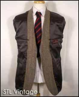 Vtg 70s John Alexander Gray Wool Tweed Herringbone Sport Coat Blazer