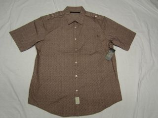 48 New Mens Sean John Printed Roll Up Button Down Shirt Brown Urban M