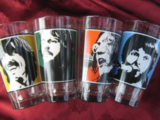 Beatles Drinking Glass Set  RingoStar John Lennon Paul McCartney & G