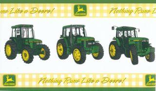 John Deere Yellow Green Plaid Tractor Farmer Country Wall paper Border