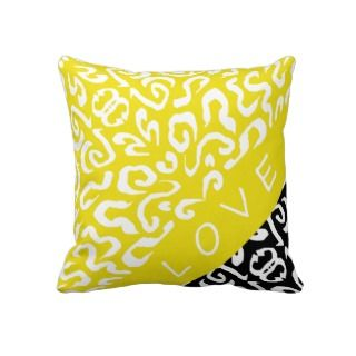 Chic Yellow Diva LOVE Accent Pillow