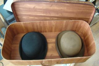 Two Victorian Derby Hats w Vintage Hat Box