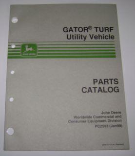 John Deere Gator Turf Utility Vehicle Parts Catalog Manual book PC2593