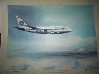 Airlines Clipper Airplane Tokyo 1976 John T McCoy Print Signed