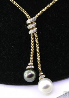 Heavy 14k Gold 31ct Diamond 11 8mm Gray 13mm White Pearl Tassel Necklace