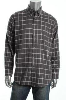 John Ashford NEW Gray Flannel Long Sleeve Windowpane Plaid Button Down Shirt L