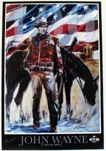 Hand Signed Michael Bryan John Wayne Western Horse Art American Flag Cowboy