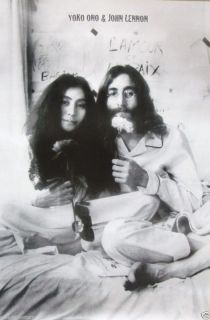 "John Lennon Yoko Ono ""Bed Ins for Peace"" Poster from Asia Beatles Vietnam War"