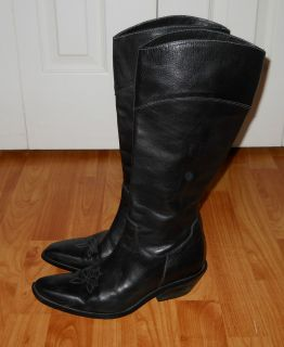 John Fluevog Boots Black Leather Tall Western Style Size 7 M Wide Calf
