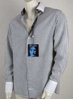 ENGLISH LAUNDRY New JOHN LENNON SPEEDWAY White Black W Paisley Dress Shirt L
