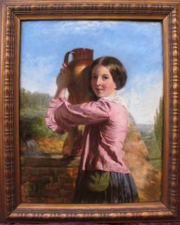 Thomas Hughes FL 1840 1870 Fine Signed English Oil Portrait of Girl