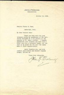 "John J ""Black Jack"" Pershing Typed Letter Signed"