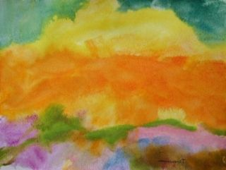Original Expressionism Landscape Watercolor Painting JMW Art John Williams Scene
