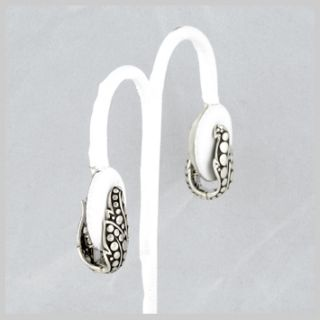 120768 JOHN HARDY Ayu Sterling Silver Leaf Huggy Earrings
