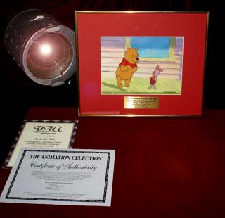 WINNIE The POOH Original Animation Cel DISNEY Seal Signed JOHN FIEDLER Frame