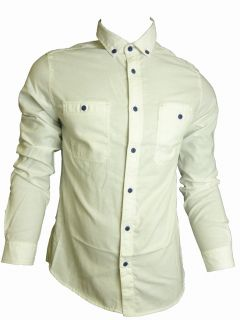 Mens Casual John Tungatt Designer Button Down Cream Blue Oxford Shirt XLARGE