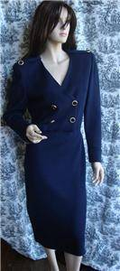 ST JOHN Santana Knit Military Style Navy Blue Dress sz 10 25 to Nonprofit