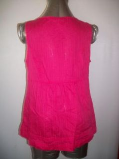 Sz M ST JOHNS BAY Bright Pink Sleeveless Button Down Shirt Ruffle Front Cotton