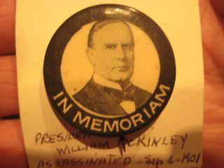 Antique Republican President William McKinley Campaign Tile and Memoriam Pin