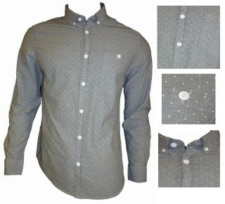 Mens Casual John Tungatt Designer Grey Polkadot Shirt XLarge