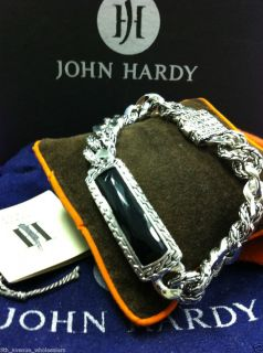 "John Hardy Men's Sultan Black Chalcedony Station Bracelet 8"" Retail $895"