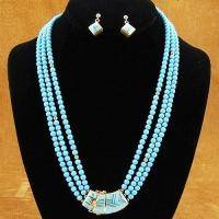 Vintage Old Pawn 18K Gold Navajo Turquoise Beads Necklace Bracelet Earrings Set
