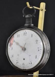 1810 George Jones Verge Fusee Pocket Watch Sterling Silver Pair Case Georgian