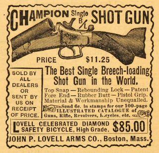1891 Ad John P Lovell Champion Single Shot Gun Rifle Firearm Hunting Pistol