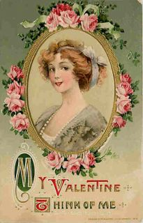 Valentine Schmucker 1912 Pretty Woman John Winsch Vintage Embossed Postcard
