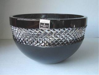 "Waterford John Rocha Black Cut Crystal Bowl 8"" Boxed New"