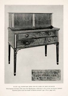 1939 Print Seymour Secretary Desk Cabinet Furniture Maker Craftsman Flayderman