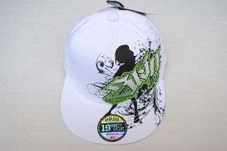 New White Green Flex Fit Skin Industries Fitted Baseball Ball Cap Flat Bill Hat