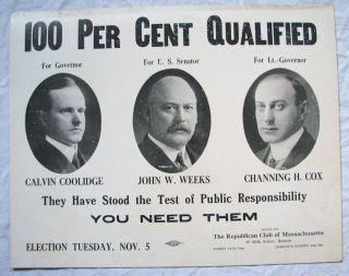 Calvin Coolidge for MA Governor Political Thick Cardstock Poster Vtg Old Antique