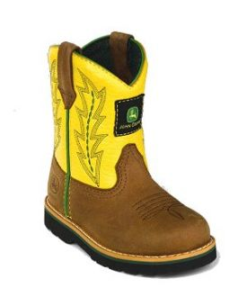 John Deere Kids Youth Johnny Popper Leather Boots Tan Yellow Size 6