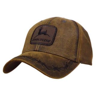 John Deere Oilskin Patch Hat Cap Brown Unique and Cool |