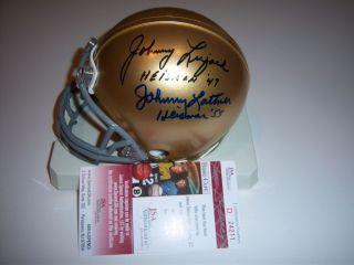 Johnny Lattner Johnny Lujack Notre Dame Heisman JSA COA Signed Mini Helmet