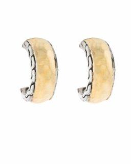 John Hardy Palu Sterling Silver 22K Huggie Hoop Earrings