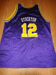 Utah JAZZ John STOCKTON 12 Vintage CHAMPION NBA Basketball Jersey X LARGE XL 48