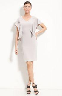 St John Collection V Neck Flutter Sleeve Sheath Dress Sz 12 $895