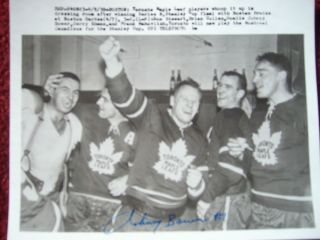 JOHNNY BOWER signed auto Stanley Cup Finals Toronto Maple Leafs vs Boston Bruins