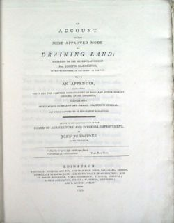 Account of Most Approved Mode of Draining Land Johnstone 1797 1st Ed
