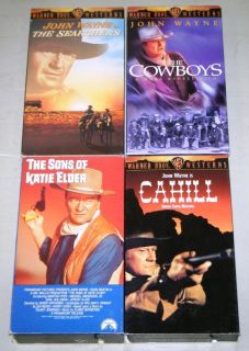 John Wayne 4 VHS Movie Set Cowboys Searchers Cahill Sons of Katie Elder