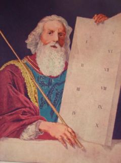 MOSES THE TEN COMMANDMENTS ANTIQUE BIBLE PRINT 1890
