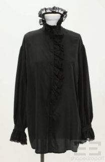 Betsey Johnson Black Silk Ruffle Lace Long Sleeve Blouse Size 6