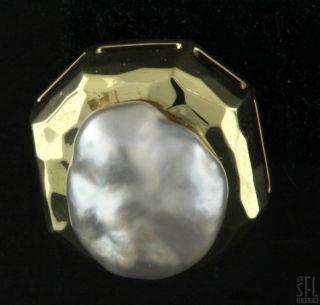 Henry Dunay Heavy Vintage 18K Gold Pearl Earrings w Great Luster