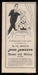 1952 restaurant waiter cartoon John Jamesons Irish whiskey vintage print ad