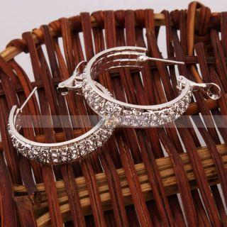 Super Star Jolin Favorite Fashion Crystal Hoop Earrings