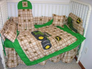 Crib Bedding Set Made w John Deere Brown Plaid Tractor Fabric Double Batting