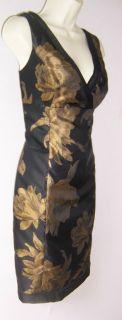 Jones New York Black Gold Floral Cocktail Dress 14 14P