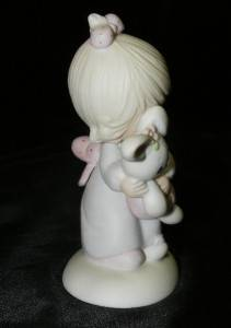 "1978 Precious Moments ""Jesus Loves Me"" E 1372 G Girl w Bunny Figurine w Box 